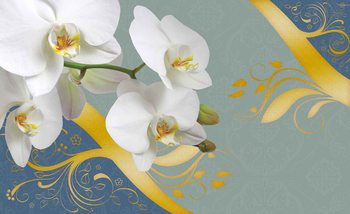 Pattern Flowers Orchids Abstract Fototapet