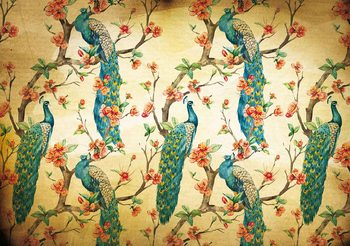Pattern Peacocks Flowers Vintage Fototapet