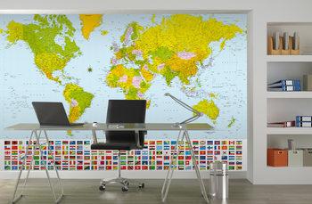 Politieke Wereldkaart - Wandkaart Fototapet