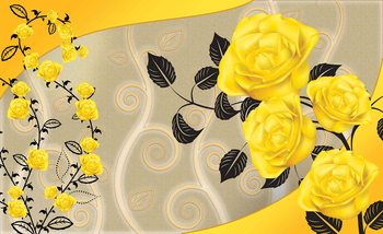 Roses Yellow Flowers Abstract Fototapet