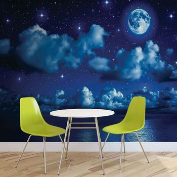 Sky Moon Clouds Stars Night Sea Fototapet