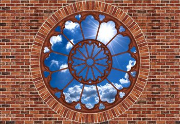 Sky Ornamental Window View Brick Wall Fototapet