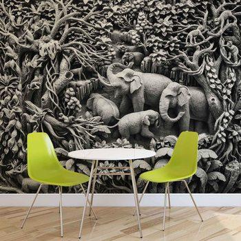 Słonie w dżungli Fototapet