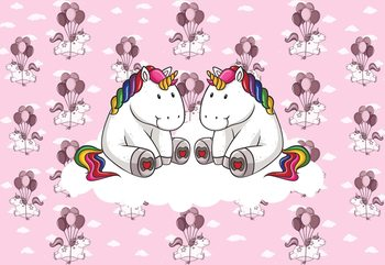 Sweet Unicorns Pink Fototapet