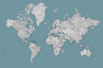 Teal and grey detailed watercolor world map with cities, Urian Fototapet