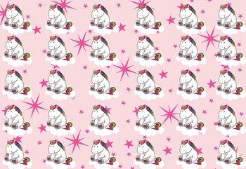 Unicorn Pattern Pink Fototapet