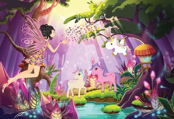 Unicorns And Fairies In The Forest Fototapet