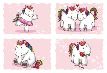Unicorns Pink Fototapet