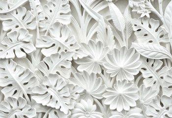 Vintage 3D Carved Flowers White Fototapet