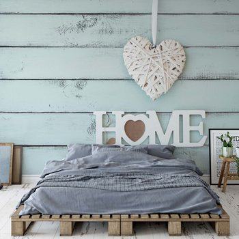 Vintage Chic Home Painted Wooden Planks Texture Light Blue Fototapet