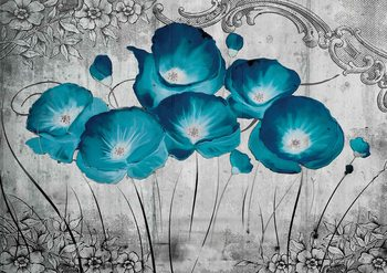 Vintage Flowers Blue Grey Fototapet