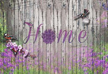 Vintage Wood Planks Design Lavender Home Fototapet