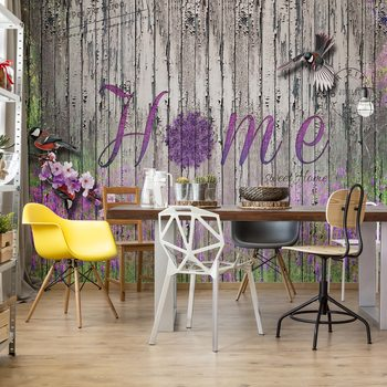 Vintage Wood Planks Design Lavender Home Fototapet
