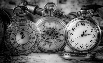 Watches Clocks Black White Fototapet