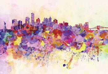 Watercolour City Skyline Fototapet