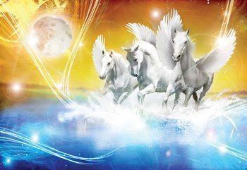 Winged Horses Pegasus Yellow And Blue Fototapet