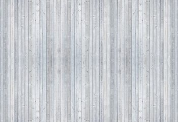 Wood Planks Light Grey Fototapet