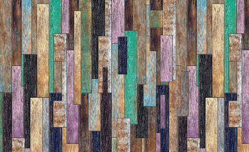 Wood Planks Painted Rustic Fototapet