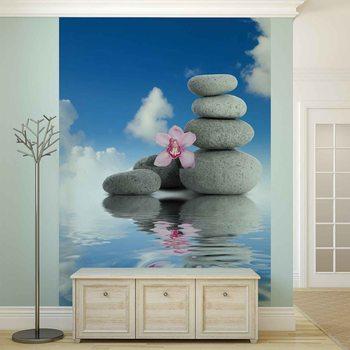 Zen Water Stones Orchid Sky Fototapet
