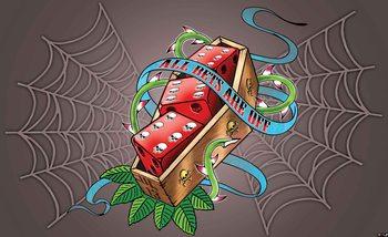 Alchemy Dice Tomb Skulls Spider Web Tapéta, Fotótapéta