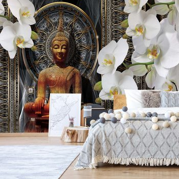 Buddha Zen Flowers Orchids Mandala Tapéta, Fotótapéta