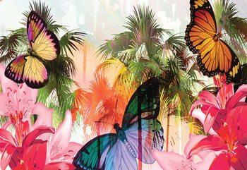 Butterflies Palms Flowers Modern Tropical Tapéta, Fotótapéta