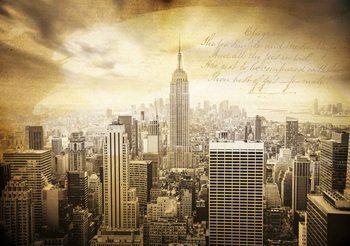 City New York Vintage Sepia Tapéta, Fotótapéta