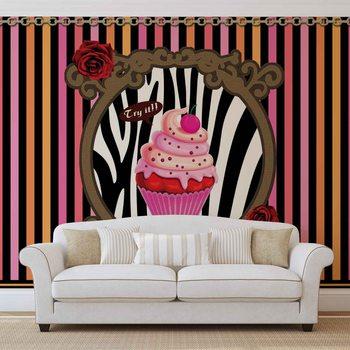 Cupcake Stripes Tapéta, Fotótapéta