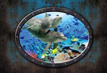 Dolphins Coral Reef Underwater Submarine Window View Tapéta, Fotótapéta