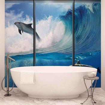 Dolphins Sea Wave Jump Fali tapéta