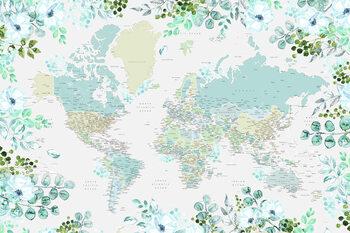 Floral bohemian world map with cities, Marie Tapéta, Fotótapéta