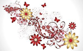 Flowers Butterflies Pattern Red Tapéta, Fotótapéta