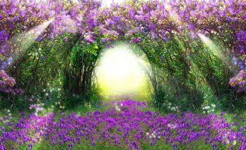 Flowers Purple Forest Light Beam Nature Tapéta, Fotótapéta