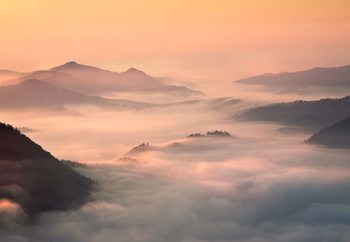 Foggy Morning In The Mountains Tapéta, Fotótapéta