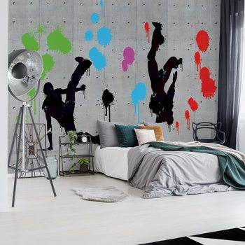 Graffiti Concrete Wall Dancers Tapéta, Fotótapéta