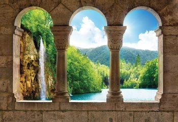 Lake Waterfall View Through Stone Arches Tapéta, Fotótapéta