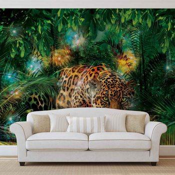 Leopard In Jungle Fali tapéta