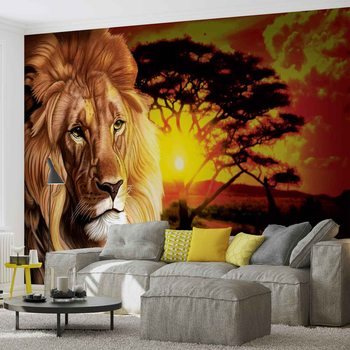 Lion Sunset Africa Nature Tree Tapéta, Fotótapéta