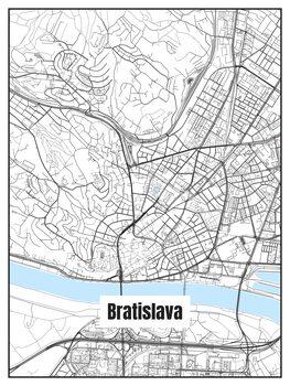 Map of Bratislava Tapéta, Fotótapéta
