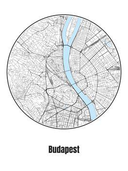 Map of Budapest Tapéta, Fotótapéta
