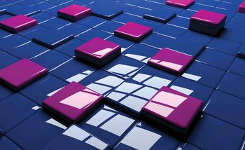 Modern Abstract Squares Blue Purple Tapéta, Fotótapéta