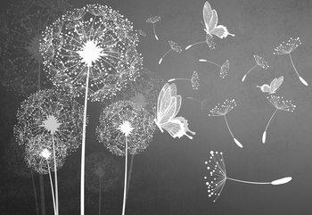Modern Dandelions And Butterflies Grey And White Tapéta, Fotótapéta
