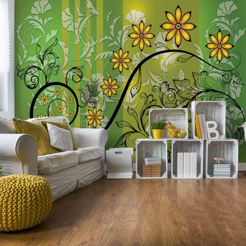 Modern Floral Design With Swirls Green And Yellow Tapéta, Fotótapéta