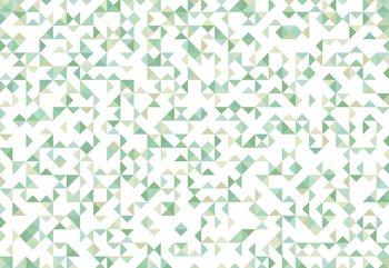 Modern Geometric Pattern Green Tapéta, Fotótapéta