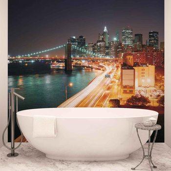 New York City Skyline Night Tapéta, Fotótapéta