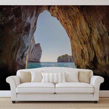 Stone Cave Tunnel Sea Tapéta, Fotótapéta