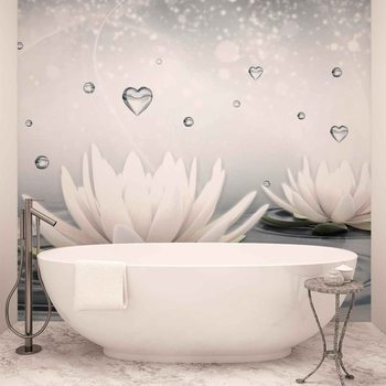 White Lotus Drops Hearts Water Tapéta, Fotótapéta