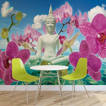 Zen Flowers Orchids Buddha Water Sky Tapéta, Fotótapéta