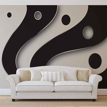 Abstract Modern Pattern Black White Fototapeta