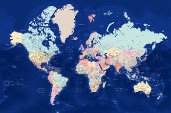 Blue and pastels detailed world map Fototapeta